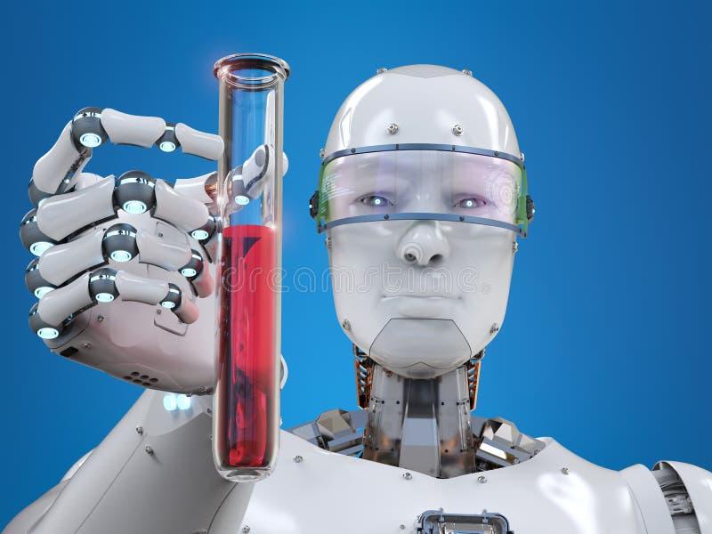 Cyborg que guarda o tubo de ensaio ilustração do vetor