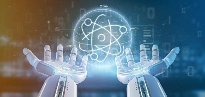 Cyborg que mantém um ícone do átomo cercado por dados fotos de stock royalty free