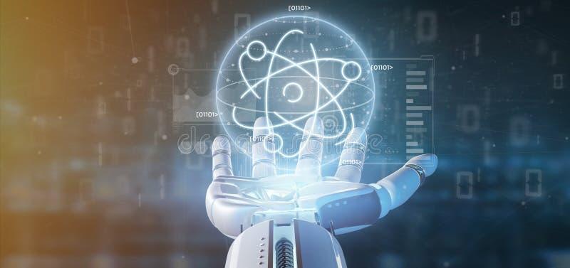 Cyborg que mantém um ícone do átomo cercado por dados fotografia de stock