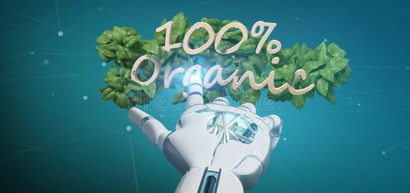 Cyborg que mantém um logotipo de madeira 100% orgânico com as folhas em torno de 3d fotos de stock