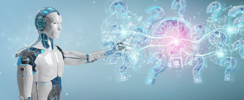 Cyborg que soluciona problema con la representación digital de los signos de interrogación 3D ilustración del vector
