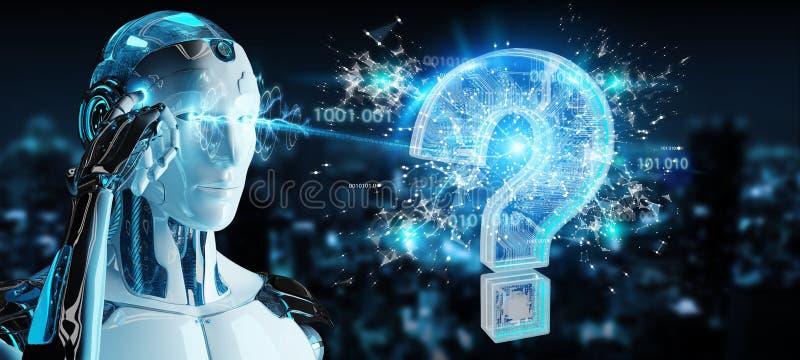 Cyborg résolvant le problème avec le rendu numérique des points d'interrogation 3D illustration stock
