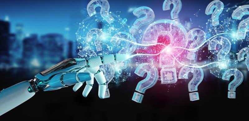 Cyborg résolvant le problème avec le rendu numérique des points d'interrogation 3D illustration libre de droits
