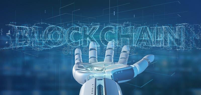 Cyborg ręka trzyma Blockchain tytułu 3d rendering royalty ilustracja