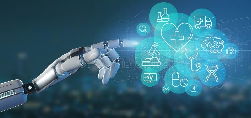 Cyborg ręka trzyma Medyczną ikonę podłączeniowego 3d rendering i ilustracja wektor