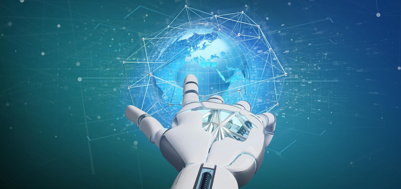 Cyborg ręka trzyma Związaną sieć nad ziemskim kuli ziemskiej conce royalty ilustracja