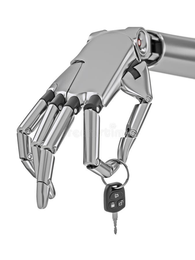 Cyborg ręka z samochodów kluczami Odizolowywającymi na Białej 3d ilustraci ilustracji