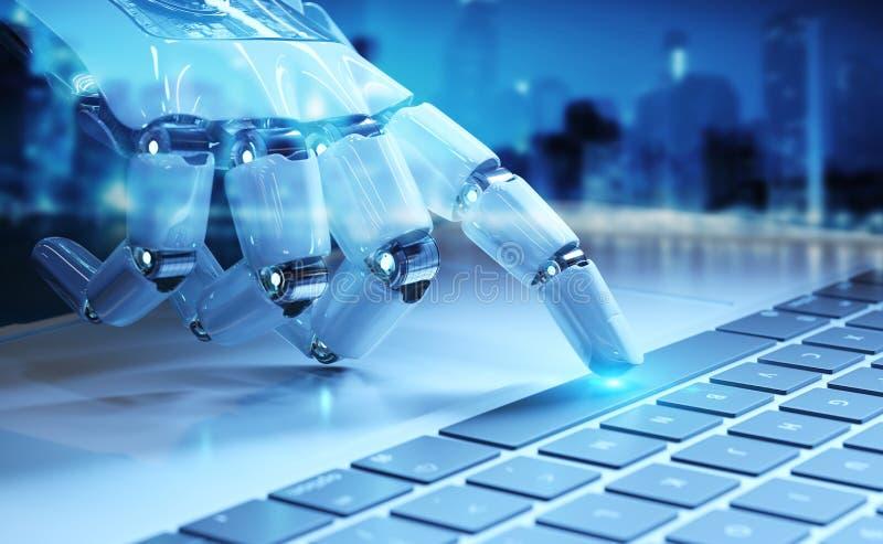 Cyborg r?ki odciskanie klawiatura na laptopu 3D renderingu ilustracji