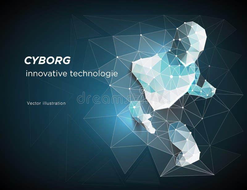 cyborg Rob? Um homem que se apressasse fora da rede, simbolizando o significado da inteligência artificial e de dados grandes ilustração stock