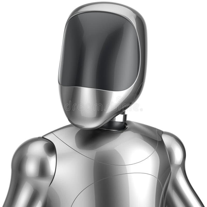 Cyborg robot android futuristic chrome bot character portrait vector illustration