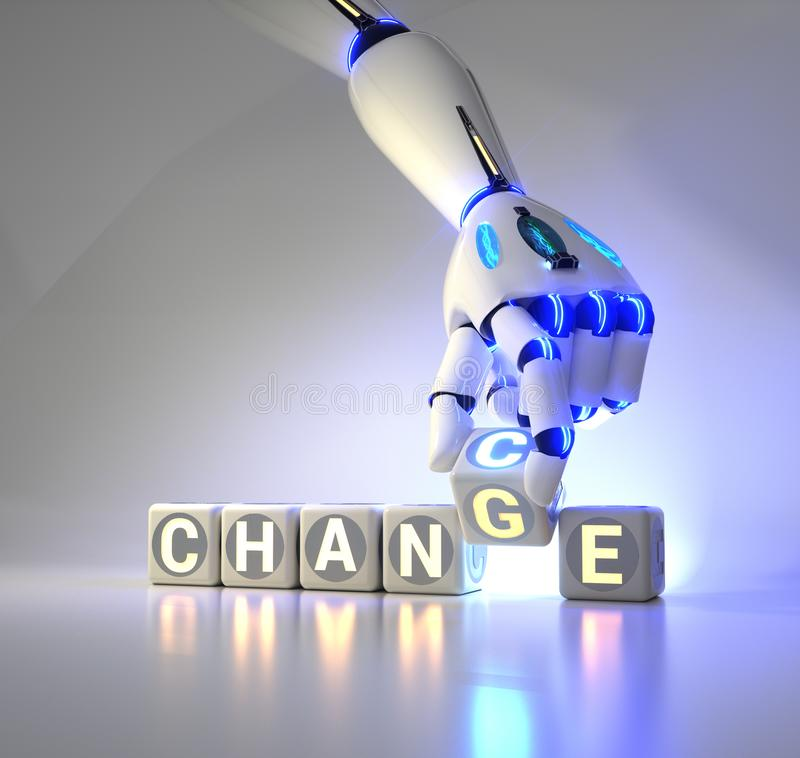 Cyborg robot hand changes text cube from change to chance - ai concept. 3d rendering royalty free stock photography