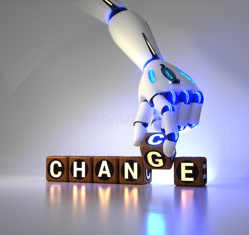 Cyborg robot hand changes text cube from change to chance - ai concept stock illustration