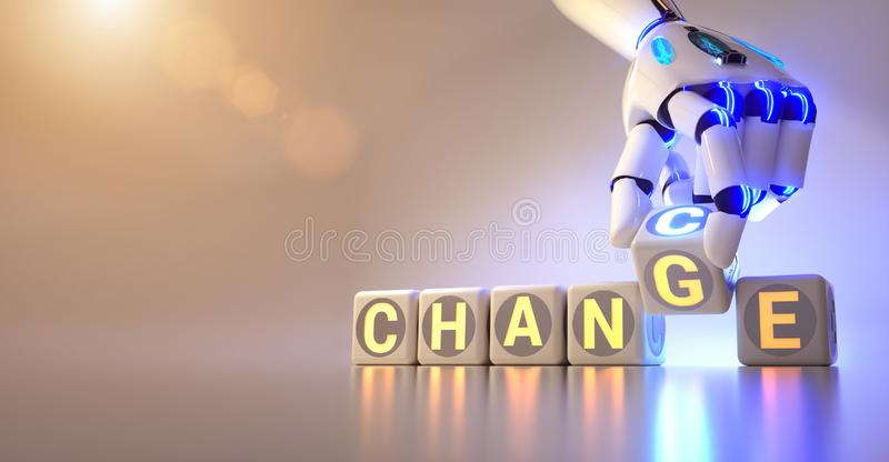 Cyborg robot hand changes text cube from change to chance - ai concept. 3d rendering royalty free stock photo