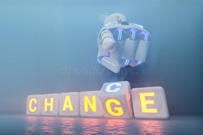 Cyborg robot hand changes text cube from change to chance - ai concept. 3d rendering stock images
