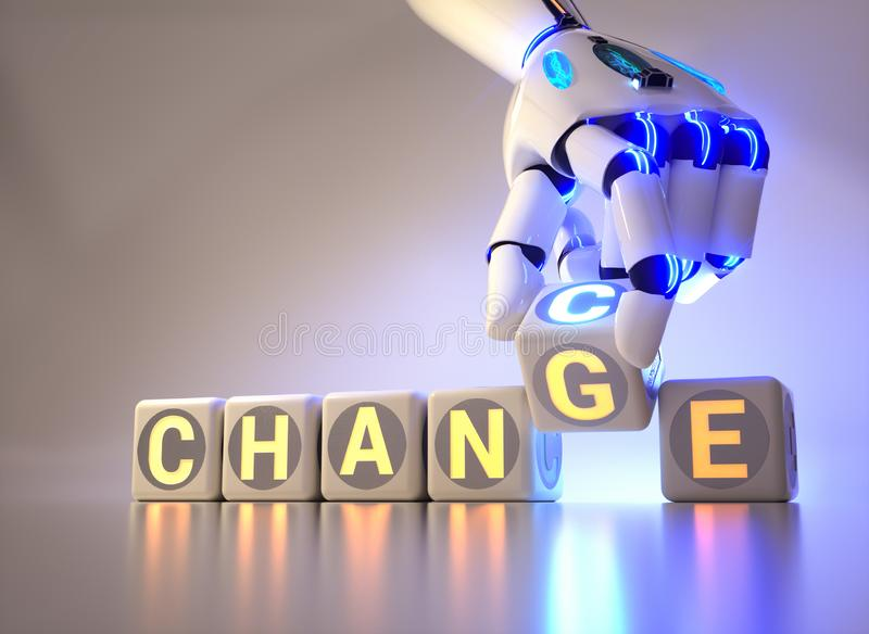 Cyborg robot hand changes text cube from change to chance - ai concept. 3d rendering stock illustration