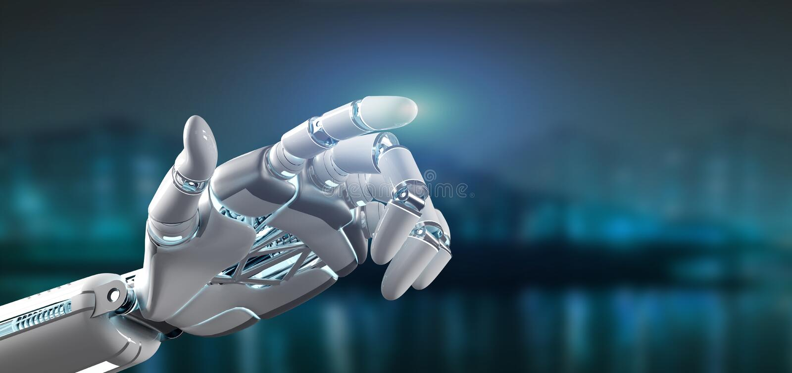 Cyborg robot hand on a city background 3d rendering. View of a Cyborg robot hand on a city background 3d rendering stock illustration