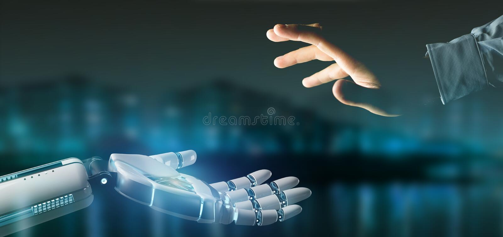Cyborg robot hand on a city background 3d rendering stock images