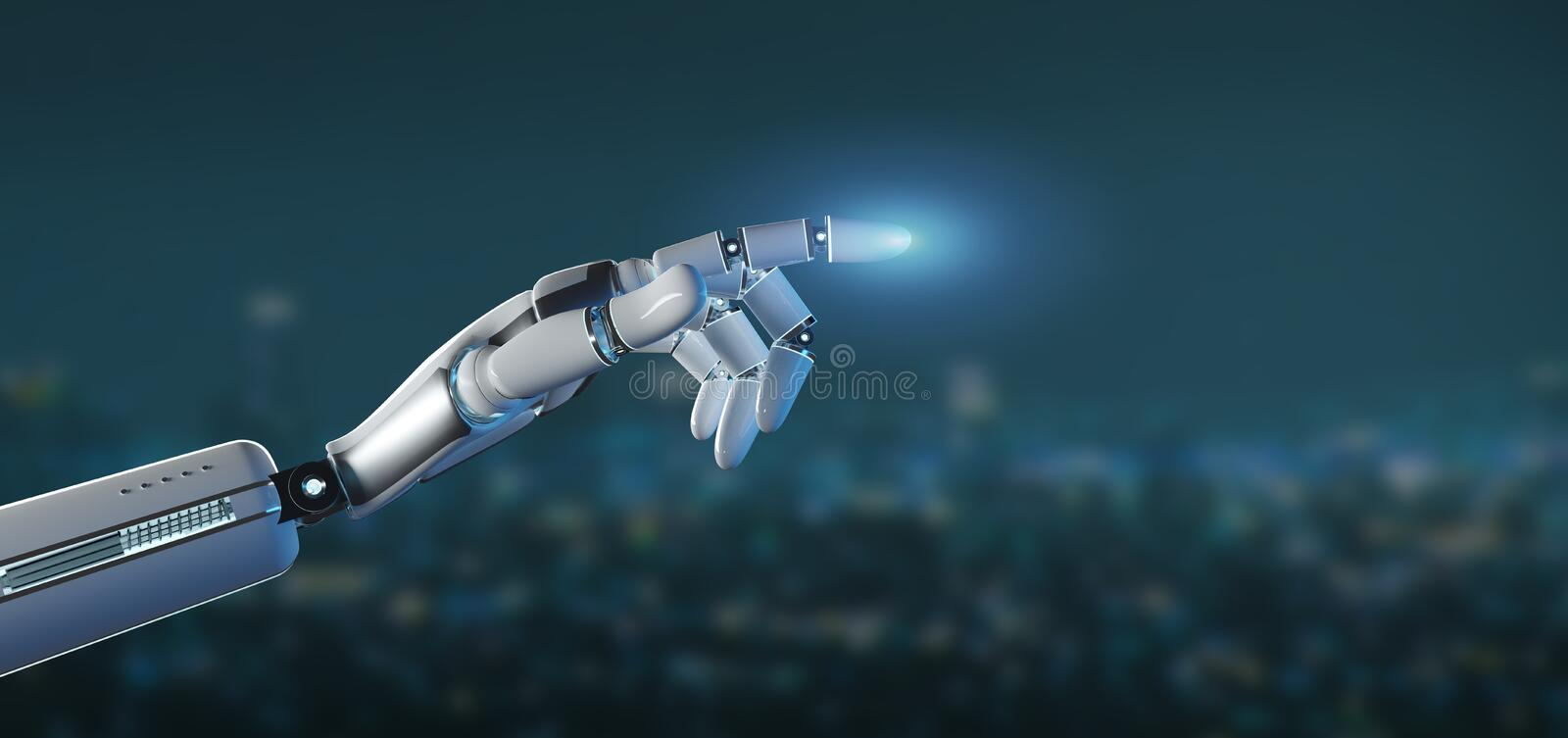 Cyborg robot hand on a city background 3d rendering. View of a Cyborg robot hand on a city background 3d rendering royalty free stock photography
