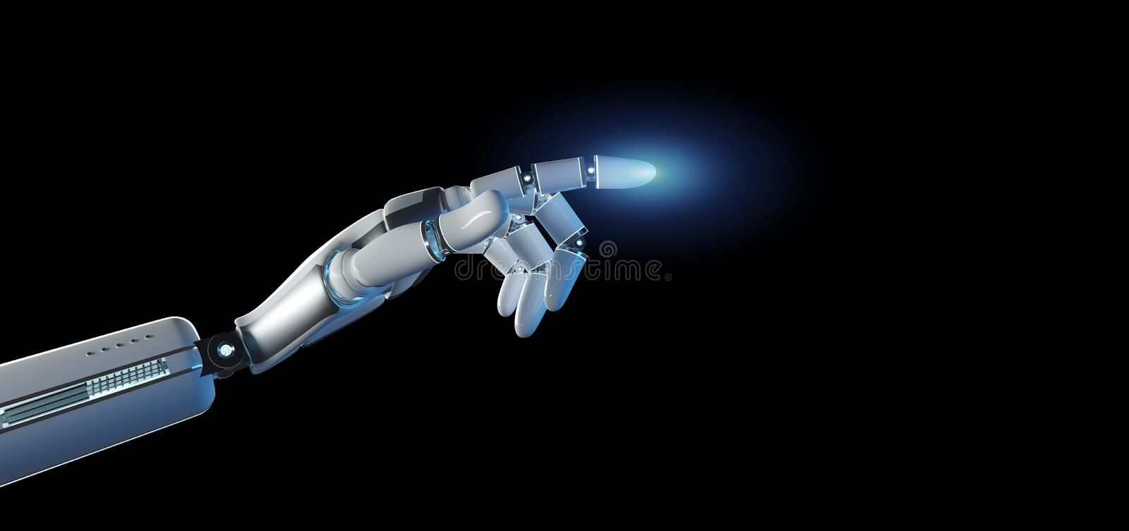 Cyborg robot hand on an uniform background 3d rendering royalty free illustration