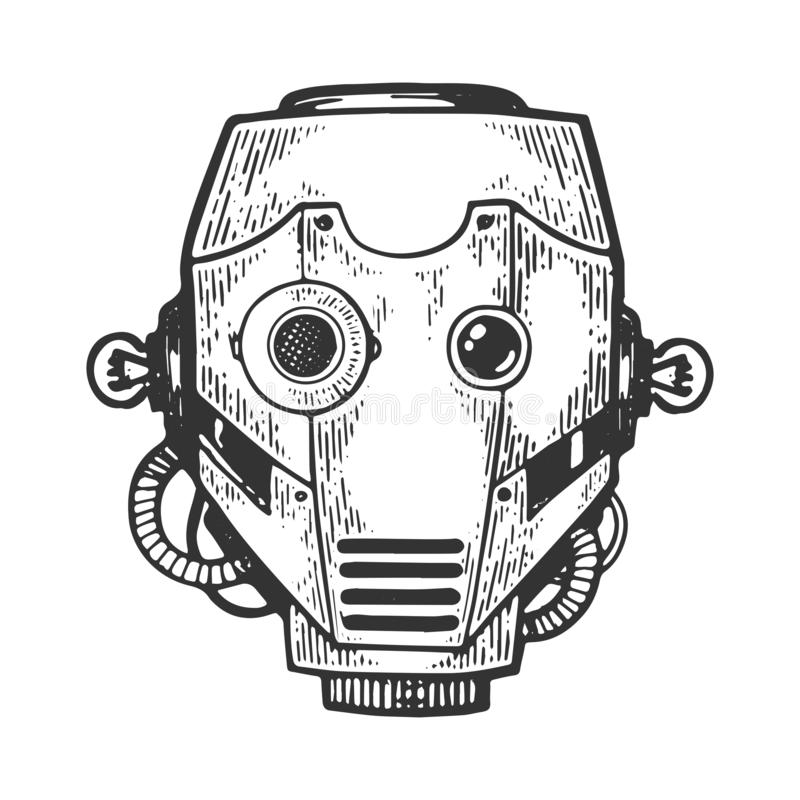 Cyborg robot head engraving vector illustration stock illustration