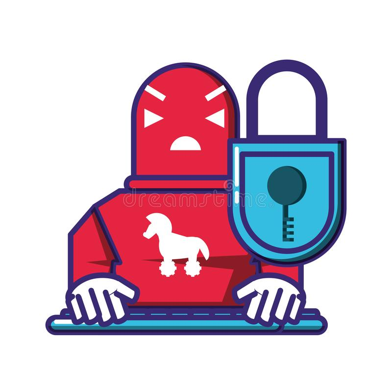 Cyborg robot trojan with padlock. Vector illustration design stock illustration