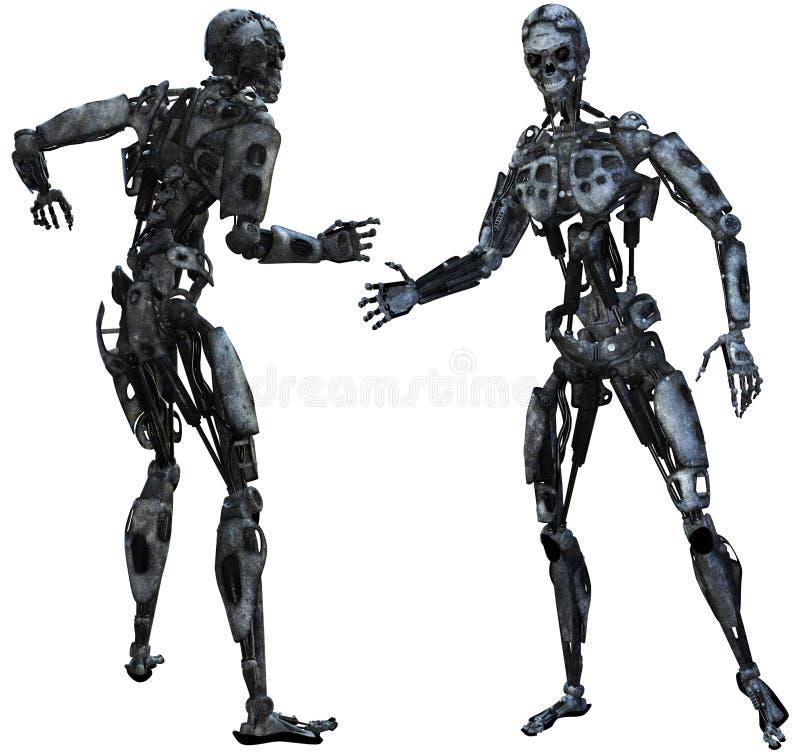 Cyborg, Roboter, Übel, Gefahr, lokalisiert lizenzfreie abbildung
