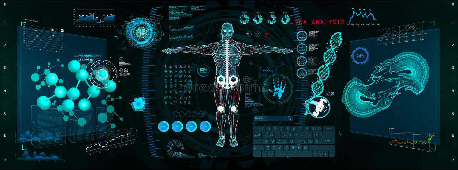 Cyborg Scan, Futuristic Interface HUD, GUI. Human-Robot Interaction With the Network, Analysis and Troubleshooting in HUD Style. 3d hologram Cyborg vector illustration