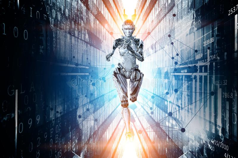 Cyborg silver running woman. Mixed media stock image