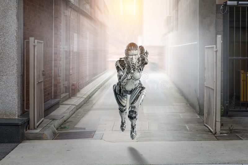 Cyborg silver running woman. Mixed media royalty free stock image