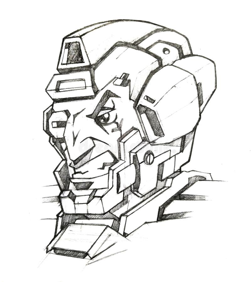 Cyborg soldier face stock illustration