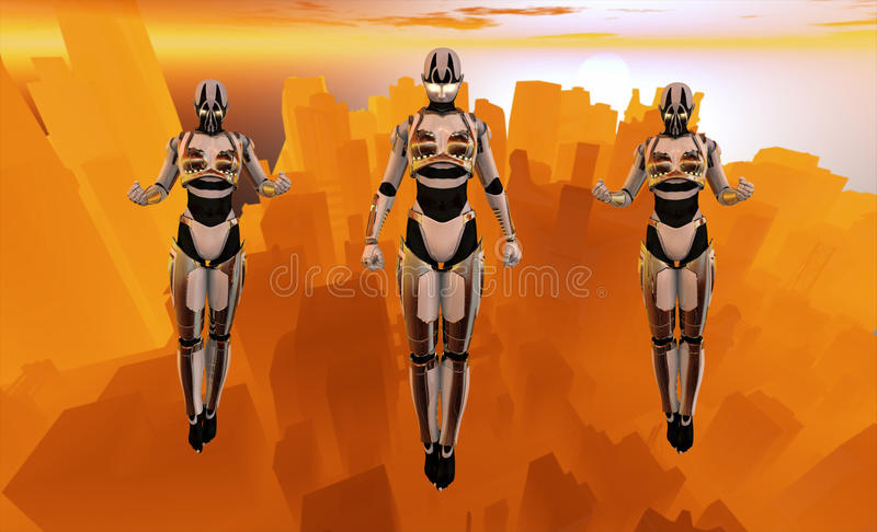 Cyborg soldiers hovering