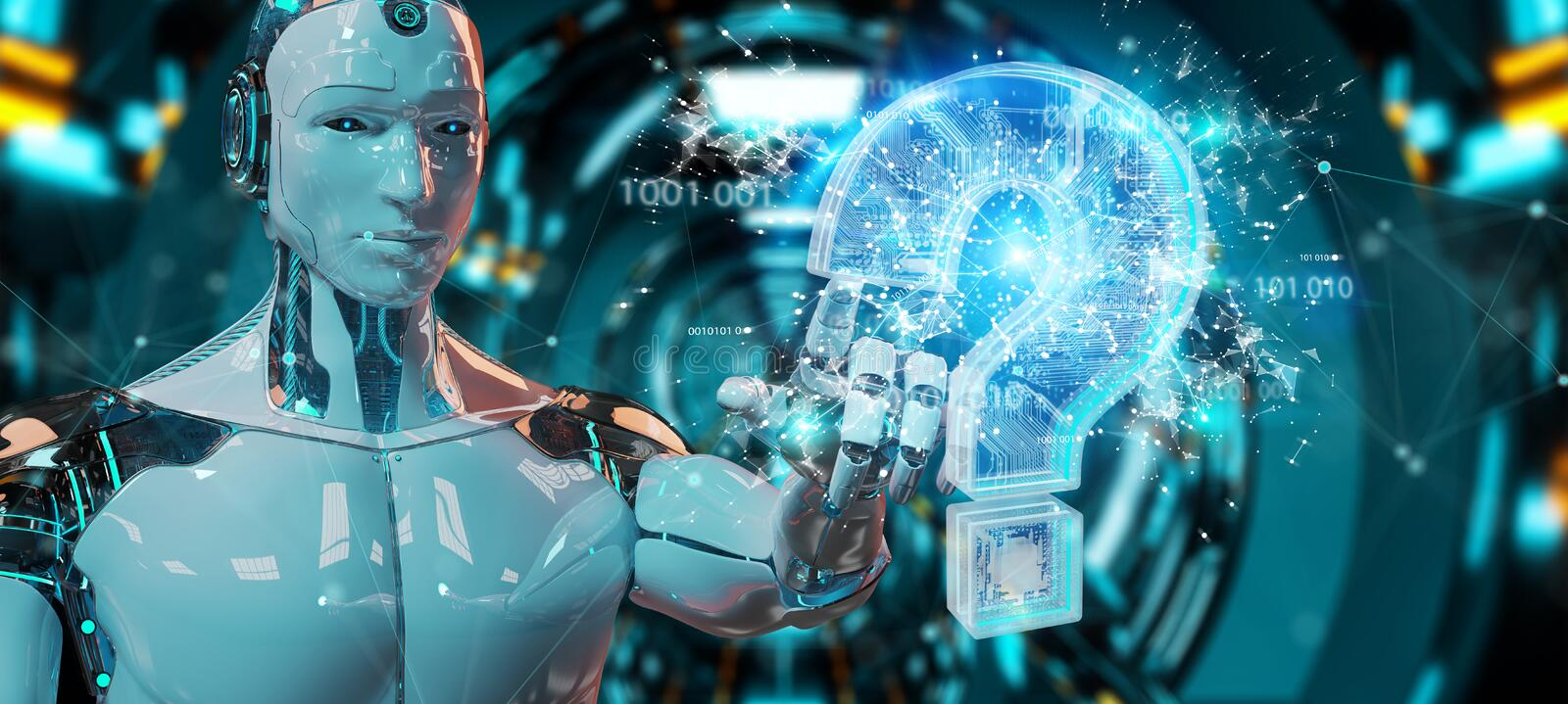 Cyborg solving problem with digital question marks 3D rendering stock illustration