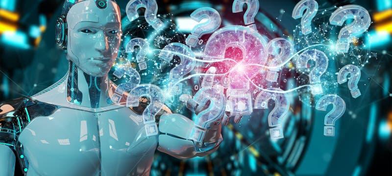 Cyborg som löser problem med den digitala tolkningen för frågefläckar 3D vektor illustrationer