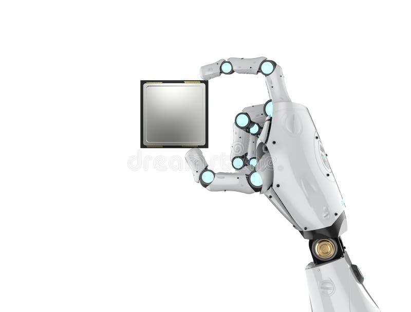 Cyborg som rymmer CPU-chipen stock illustrationer