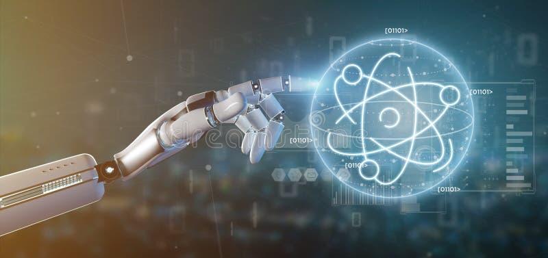 Cyborg som rymmer en atomsymbol omgiven av data arkivbild