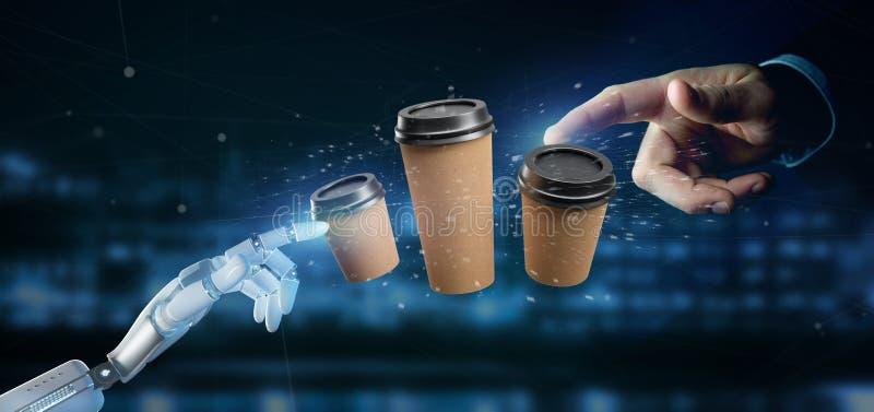 Cyborg som rymmer en grupp av cardboxkaffekoppen med anslutning 3d arkivfoto
