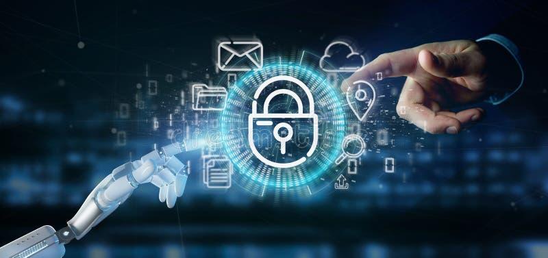 Cyborg som rymmer en symbol för säkerhetshänglåshjul med multimedia och den sociala tolkningen för massmediasymbol 3d arkivbilder