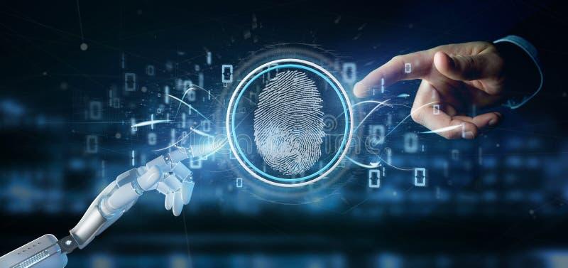 Cyborg som rymmer en tolkning för Digital fingeravtryckID och för binär kod 3d royaltyfri bild