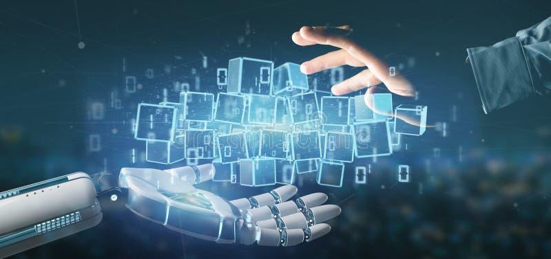 Cyborg som rymmer ett moln av tolkningen för blockchainkub och för binära data 3d royaltyfri bild