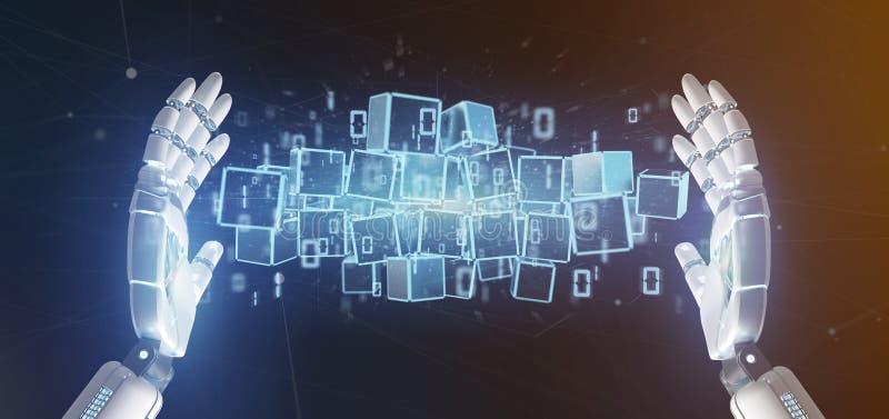 Cyborg som rymmer ett moln av tolkningen för blockchainkub och för binära data 3d royaltyfria bilder