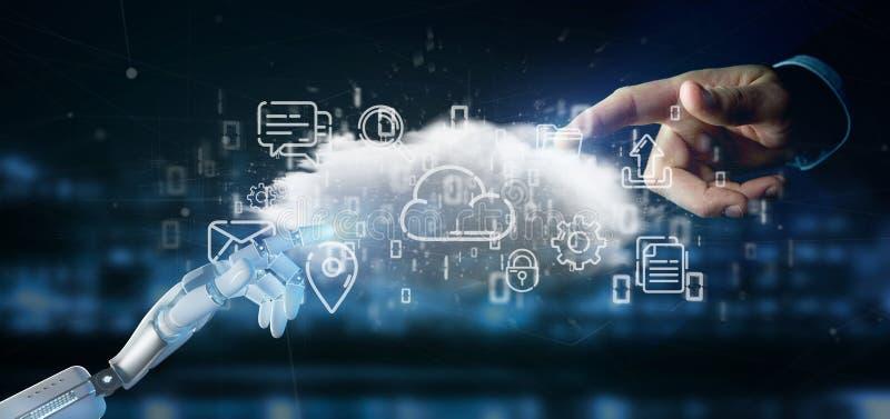 Cyborg som rymmer ett moln av tolkningen för multimediasymbol 3d arkivfoton