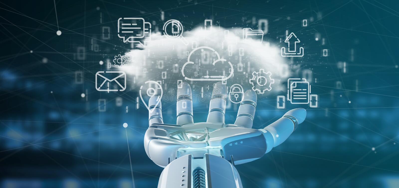 Cyborg som rymmer ett moln av tolkningen för multimediasymbol 3d royaltyfri bild