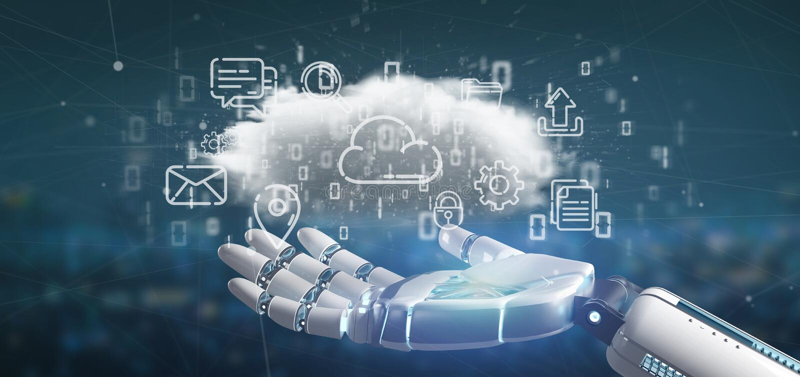 Cyborg som rymmer ett moln av tolkningen f?r multimediasymbol 3d arkivfoton