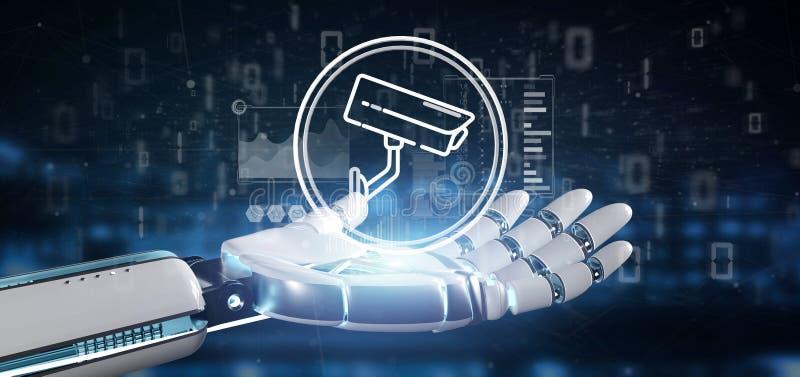 Cyborg som rymmer symbolen för system för säkerhetskamera och statistikdata - tolkning 3d vektor illustrationer