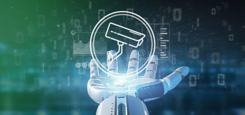 Cyborg som rymmer symbolen för system för säkerhetskamera och statistikdata - tolkning 3d royaltyfri illustrationer