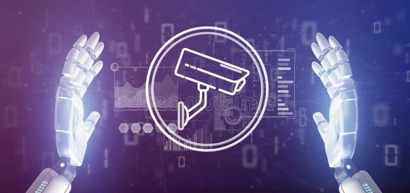 Cyborg som rymmer symbolen f?r system f?r s?kerhetskamera och statistikdata - tolkning 3d stock illustrationer