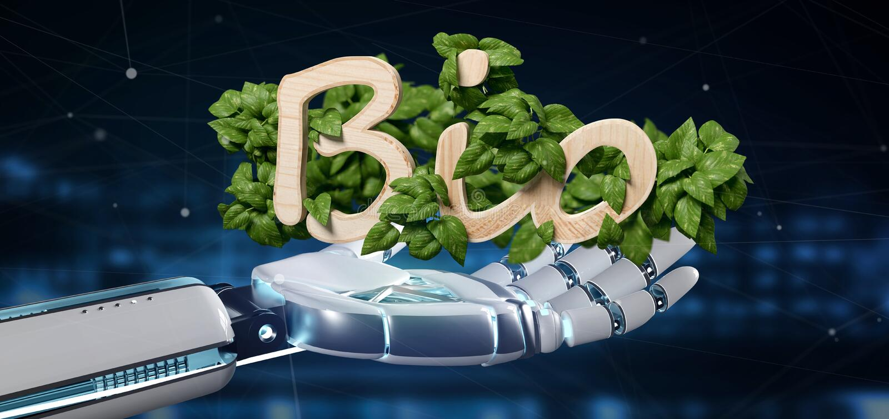Cyborg som rymmer trälogo bio med sidor runt om tolkningen 3d royaltyfri foto