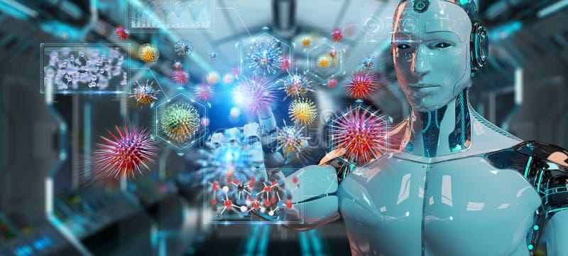 Cyborg som skapar och analyserar tolkningen för nanovirus 3D vektor illustrationer