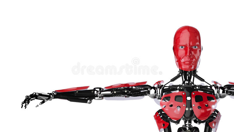 Cyborg spreading arms vector illustration
