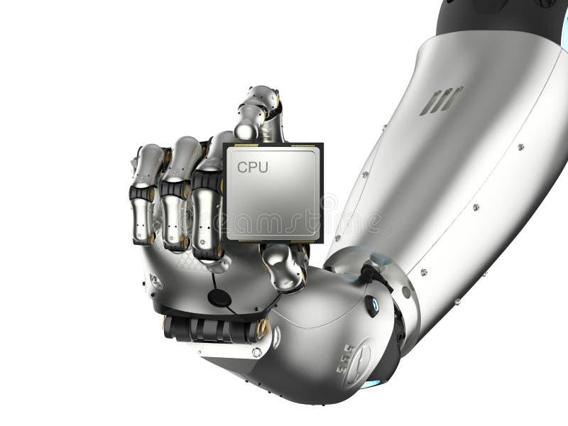 Cyborg tenant la puce d'unité centrale de traitement illustration stock